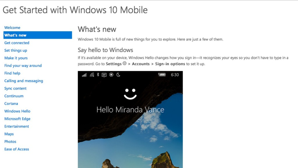Microsoft Posts More Details of Windows 10 Mobile to Website