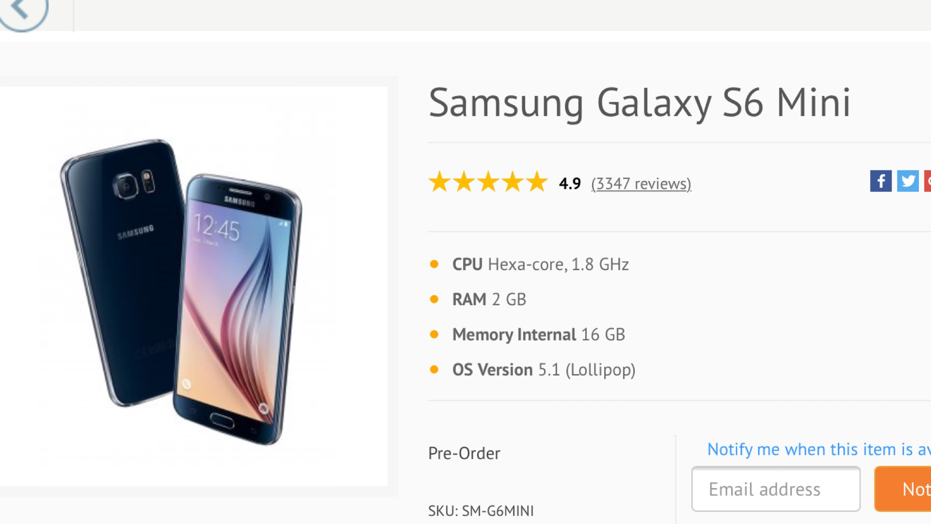 Photo of Rumored Samsung Galaxy S6 Mini Appears on Retailer's Website