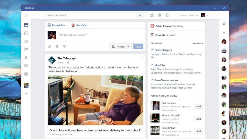 Facebook Improves User Interface and Speed of Windows 10 App