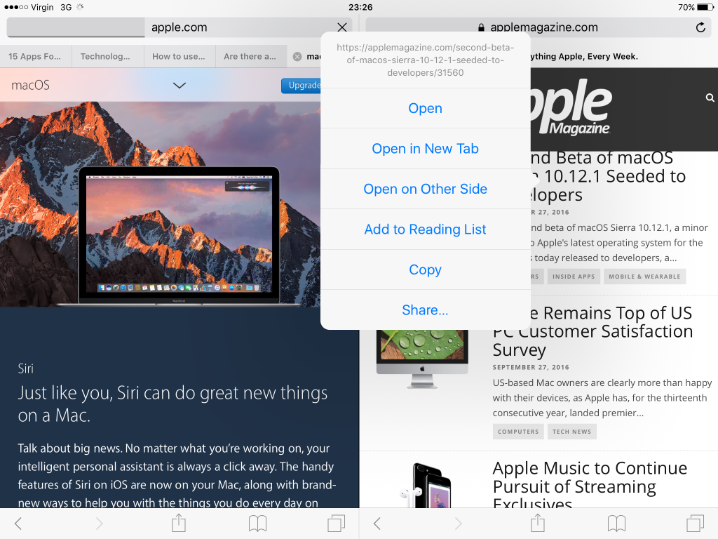How to Use iOS 10's Safari Split View on Supported iPads