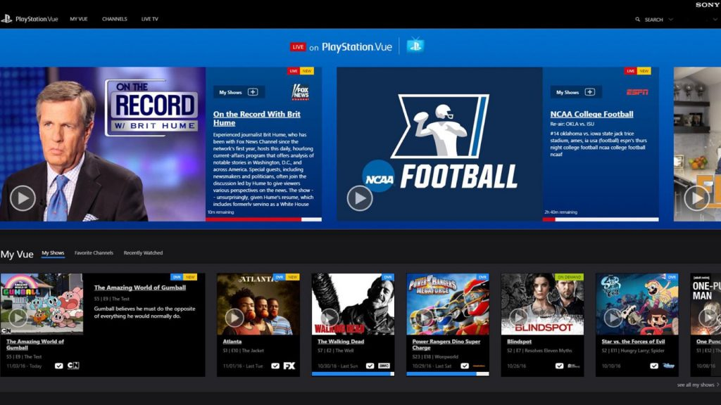 TV Service PlayStation Vue Hits Web Browsers on Mac and PC
