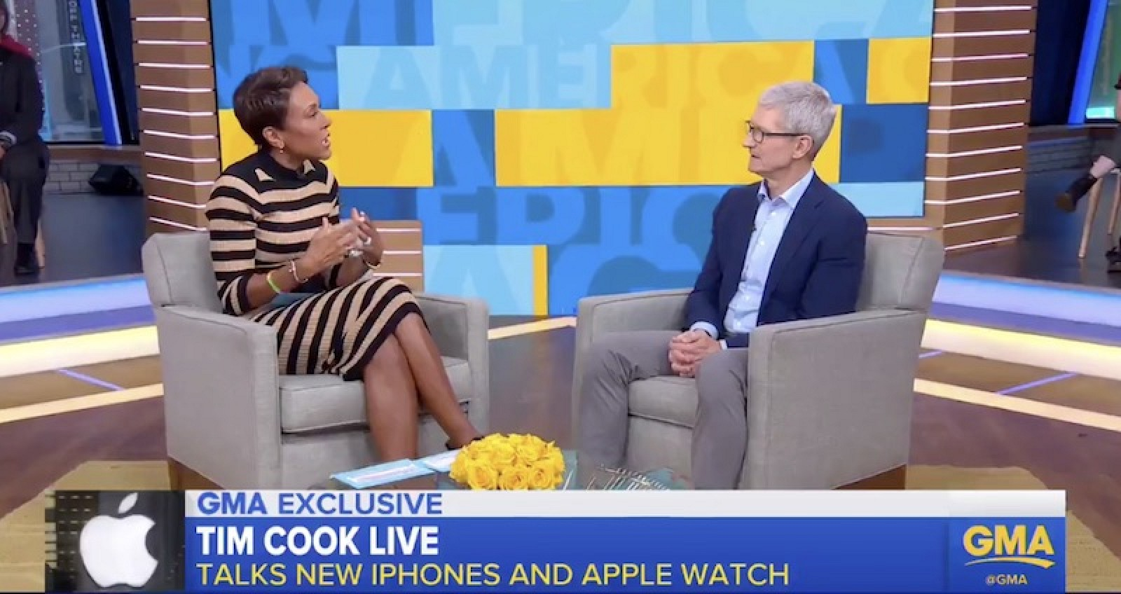 Photo of Tim Cook interviewed on Good Morning America